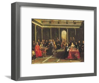 Queen Christina of Sweden (1626-89) and Her Court-Pierre-Louis the Younger Dumesnil-Framed Premium Giclee Print