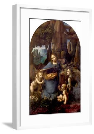 The Virgin of the Rocks (With the Infant St. John Adoring the Infant Christ) circa 1508-Leonardo da Vinci-Framed Giclee Print