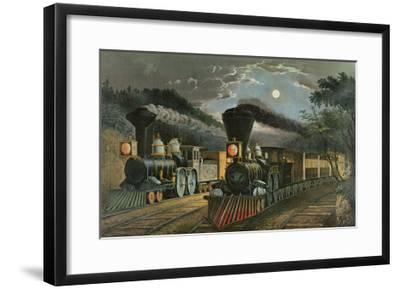 The Lightning Express Trains, 1863-Currier & Ives-Framed Giclee Print