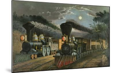 The Lightning Express Trains, 1863-Currier & Ives-Mounted Giclee Print