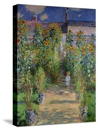 The Artist's Garden at Vetheuil, 1880-Claude Monet-Stretched Canvas Print