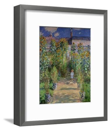 The Artist's Garden at Vetheuil, 1880-Claude Monet-Framed Premium Giclee Print