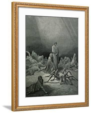 """Arachne, from the 12th Canto of Dante's """"Purgatory""""-Gustave Dor?-Framed Giclee Print"""