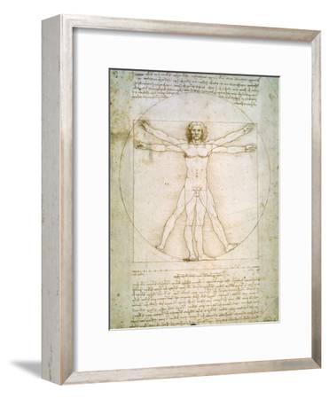 Vitruvian Man, c.1492-Leonardo da Vinci-Framed Giclee Print