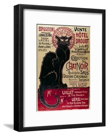 Poster Advertising an Exhibition of the Collection Du Chat Noir Cabaret at the Hotel Drouot, Paris-Th?ophile Alexandre Steinlen-Framed Giclee Print