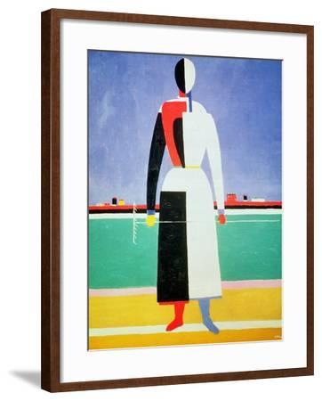 Woman with a Rake, circa 1928-32-Kasimir Malevich-Framed Giclee Print