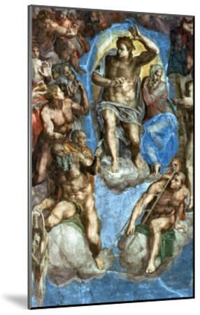 """Christ, Detail from """"The Last Judgement,"""" in the Sistine Chapel, 16th Century-Michelangelo Buonarroti-Mounted Giclee Print"""