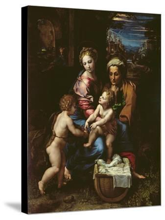 The Holy Family (La Perla) circa 1518-Raphael-Stretched Canvas Print