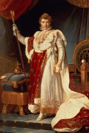 Napoleon in Coronation Robes, circa 1804-Francois Gerard-Stretched Canvas Print