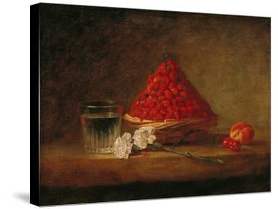 Basket with Wild Strawberries, circa 1761-Jean-Baptiste Simeon Chardin-Stretched Canvas Print