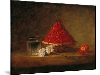 Basket with Wild Strawberries, circa 1761-Jean-Baptiste Simeon Chardin-Mounted Giclee Print