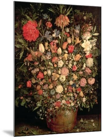 Large Bouquet of Flowers in a Wooden Tub, 1606-07-Jan Brueghel the Elder-Mounted Giclee Print