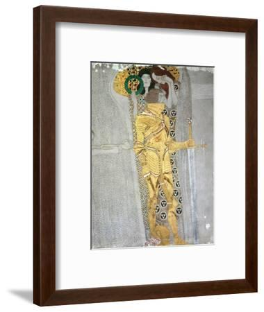 The Knight Detail of the Beethoven Frieze, Said to be a Portrait of Gustav Mahler (1860-1911), 1902-Gustav Klimt-Framed Premium Giclee Print