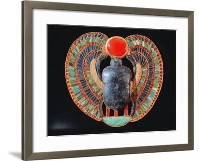 Scarab Pectoral, from the Tomb of Tutankhamun, in the Valley of the Kings at Thebes, c. 1361-52 BC--Framed Giclee Print