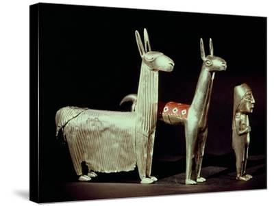 Llama, Alpaca and Woman, Inca--Stretched Canvas Print