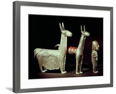 Llama, Alpaca and Woman, Inca--Framed Giclee Print