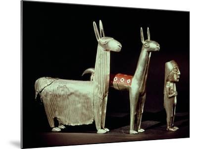 Llama, Alpaca and Woman, Inca--Mounted Giclee Print