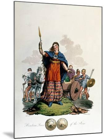 Boadicea, Queen of the Iceni (1st Century), Designed by C. H.S., Aquatinted and Pub. 1815--Mounted Giclee Print
