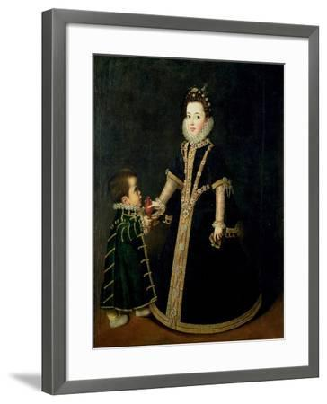 Girl with a Dwarf, Thought to be a Portrait of Margarita of Savoy-Sofonisba Anguisciola-Framed Giclee Print