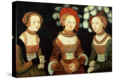 Three Princesses of Saxony, Sibylla (1515-92), Emilia (1516-91) and Sidonia (1518-75)-Lucas Cranach the Elder-Stretched Canvas Print