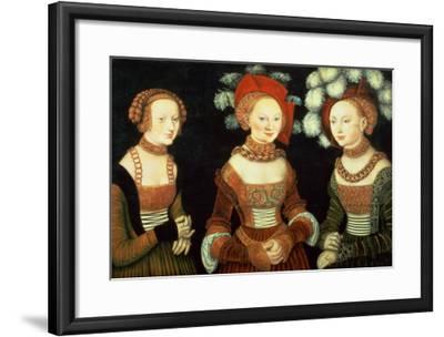 Three Princesses of Saxony, Sibylla (1515-92), Emilia (1516-91) and Sidonia (1518-75)-Lucas Cranach the Elder-Framed Giclee Print