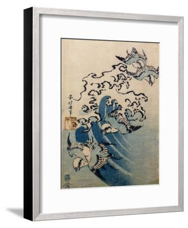 Waves and Birds, circa 1825-Katsushika Hokusai-Framed Giclee Print