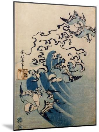 Waves and Birds, circa 1825-Katsushika Hokusai-Mounted Giclee Print