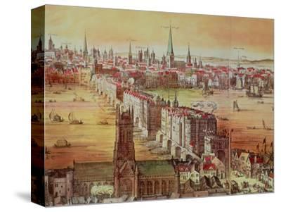 "Old London Bridge, Detail from ""Vischer's London,"" 17th Century-Nicholas Visscher-Stretched Canvas Print"