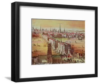 """Old London Bridge, Detail from """"Vischer's London,"""" 17th Century-Nicholas Visscher-Framed Premium Giclee Print"""