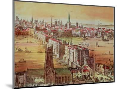 """Old London Bridge, Detail from """"Vischer's London,"""" 17th Century-Nicholas Visscher-Mounted Premium Giclee Print"""