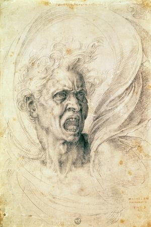 Study of a Man Shouting-Michelangelo Buonarroti-Stretched Canvas Print