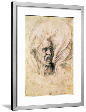 Study of a Man Shouting-Michelangelo Buonarroti-Framed Giclee Print