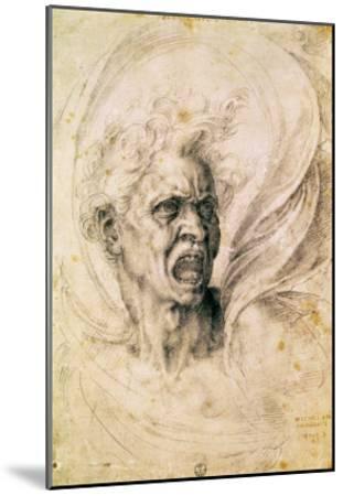 Study of a Man Shouting-Michelangelo Buonarroti-Mounted Giclee Print