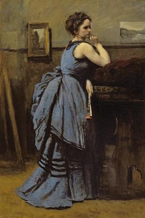 The Woman in Blue, 1874-Jean-Baptiste-Camille Corot-Stretched Canvas Print