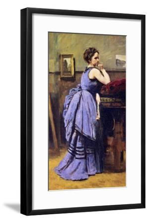 The Woman in Blue, 1874-Jean-Baptiste-Camille Corot-Framed Giclee Print