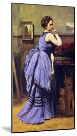 The Woman in Blue, 1874-Jean-Baptiste-Camille Corot-Mounted Giclee Print