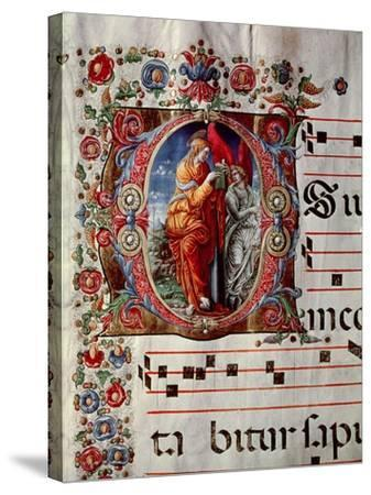 "The Annunciation, Historiated Initial ""O,"" Detail of a Page from an Antiphonal, circa 1473-79- Liberale-Stretched Canvas Print"