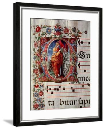 "The Annunciation, Historiated Initial ""O,"" Detail of a Page from an Antiphonal, circa 1473-79- Liberale-Framed Giclee Print"