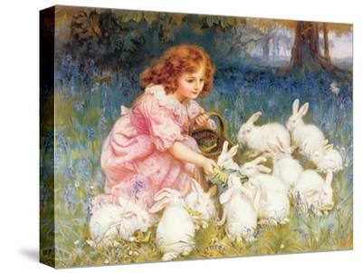 Feeding the Rabbits-Frederick Morgan-Stretched Canvas Print
