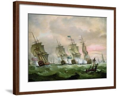 Admiral Sir Edward Hawke Defeating Admiral M. De Conflans in the Bay of Biscay-Thomas Luny-Framed Giclee Print