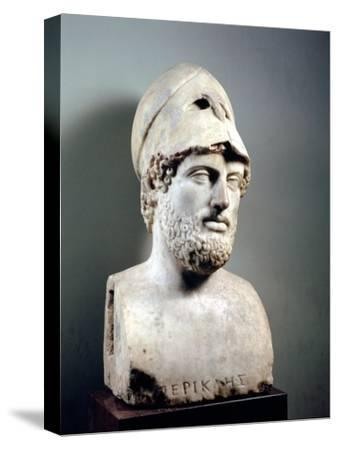 Bust of Pericles (D.429 BC) Roman, Copy of a Greek Original, circa 430 BC (Marble Sculpture)--Stretched Canvas Print