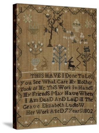 Silk-On-Linen Needlework Sampler, Dated 1802-Elizabeth Ludlow-Stretched Canvas Print