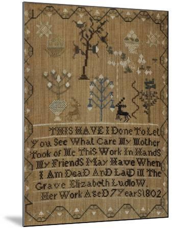 Silk-On-Linen Needlework Sampler, Dated 1802-Elizabeth Ludlow-Mounted Giclee Print