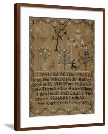 Silk-On-Linen Needlework Sampler, Dated 1802-Elizabeth Ludlow-Framed Giclee Print