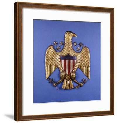 A Gilded Pressed Tin Eagle, American, 20th Century--Framed Giclee Print