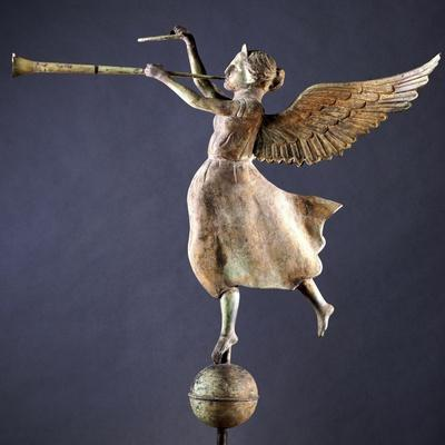 A Gilded and Molded Copper Weathervane of the Angel Gabriel, American, Late 19th Century--Stretched Canvas Print