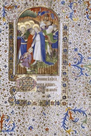 Pieta, Book of Hours, in Latin, circa 1430--Stretched Canvas Print