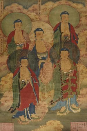 A Very Rare Buddhist Votive Painting, Dated Wanli 19th Year--Stretched Canvas Print