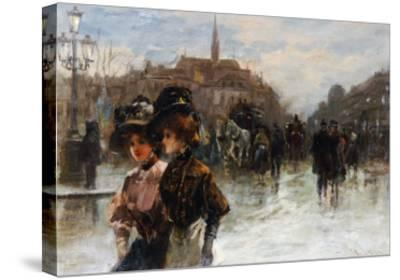 A Street Scene with Elegant Ladies, Paris-Max Lugi-Stretched Canvas Print