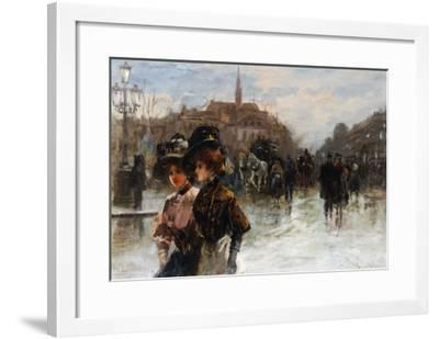 A Street Scene with Elegant Ladies, Paris-Max Lugi-Framed Giclee Print